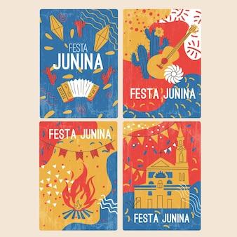 Hand getrokken festa junina-kaartcollectie