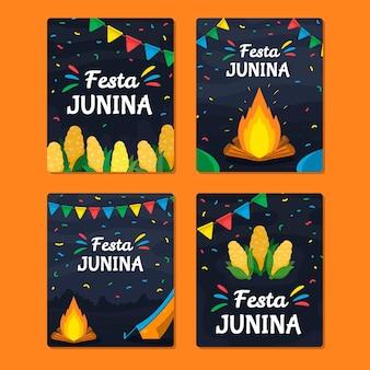 Hand getrokken festa junina-kaartencollectie