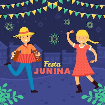 Hand getrokken festa junina mensen die muziek en dans spelen