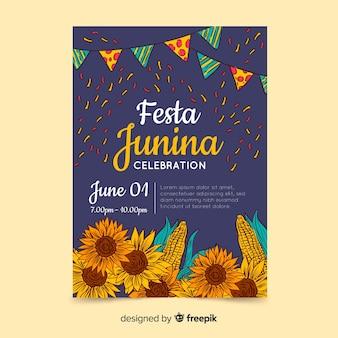 Hand getrokken festa junina poster sjabloon