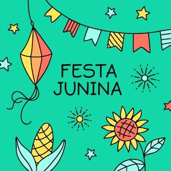 Hand getrokken festa junina