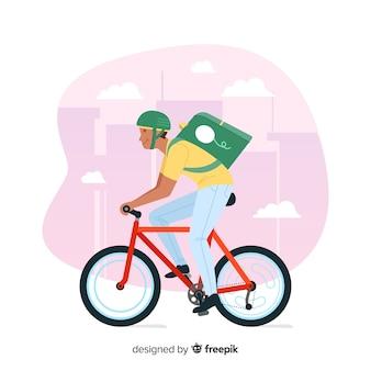 Hand getrokken fiets levering concept