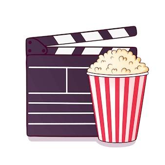 Hand getrokken filmklapper en popcorn