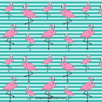 Hand getrokken flamingo patroon met strepen Premium Vector