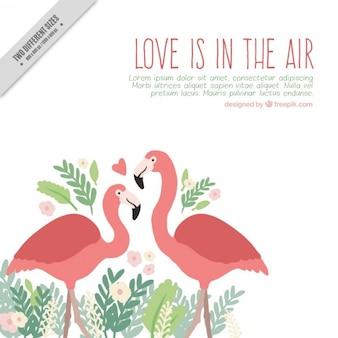 Hand getrokken flamingo's in de liefde achtergrond