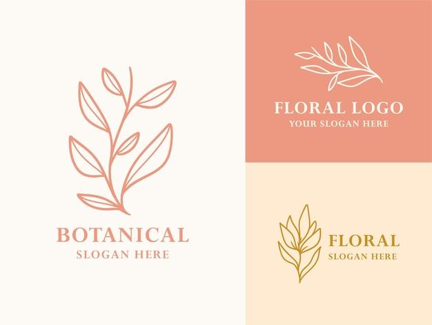 Hand getrokken floral botanische logo-collectie