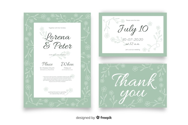 Hand getrokken floral bruiloft briefpapier sjabloon