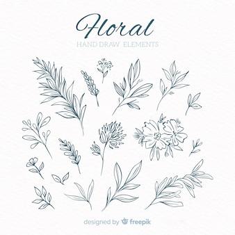 Hand getrokken floral decoratieve elementen