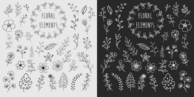 Hand getrokken floral elementen