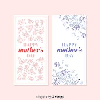 Hand getrokken floral moederdag banner