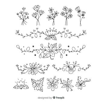 Hand getrokken florale decoratie-elementen