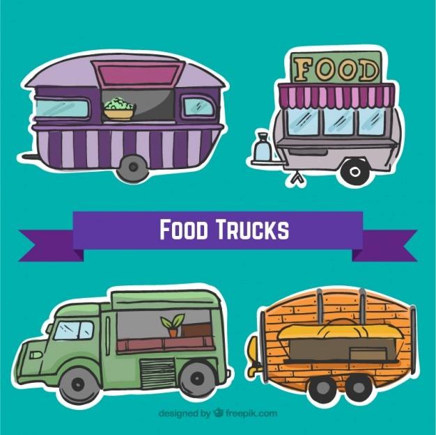 Hand getrokken food trucks labels set