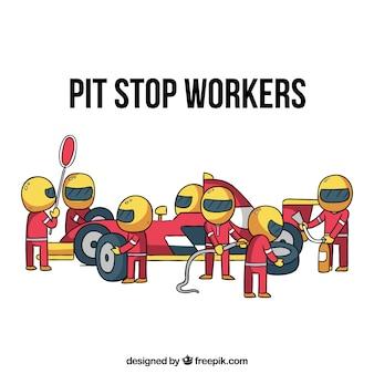 Hand getrokken formule 1 pitstoparbeiders
