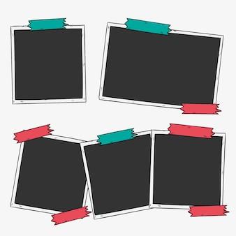 Hand getrokken foto met plakband