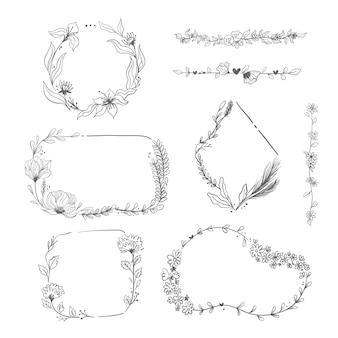 Hand getrokken frames met bloemencollectie