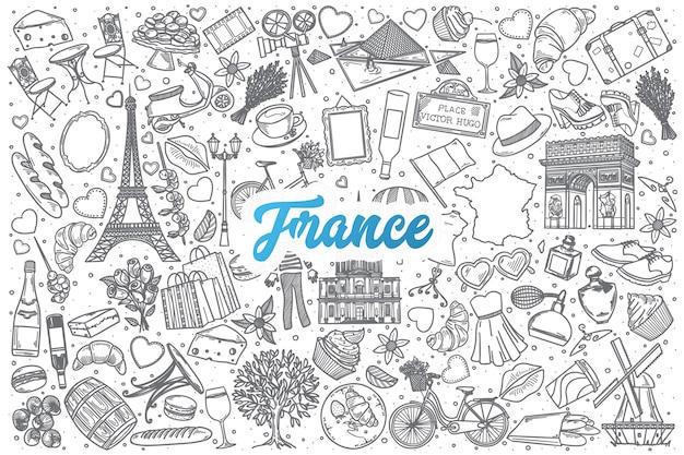 Hand getrokken frankrijk doodle set achtergrond met blauwe letters
