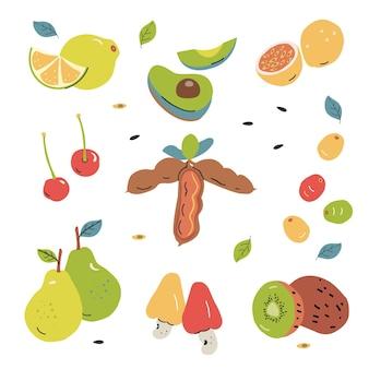 Hand getrokken fruitcollectie