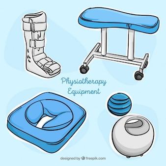 Hand getrokken fysiotherapie accessoires
