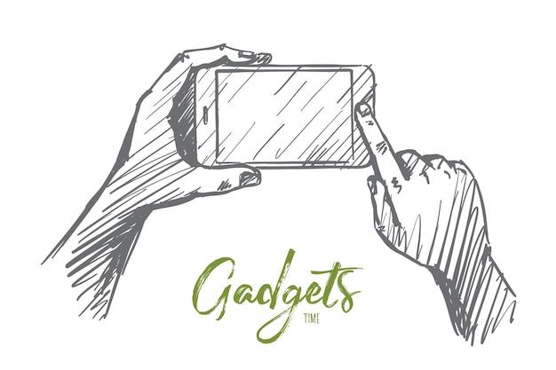 Hand getrokken gadgets tijd concept schets
