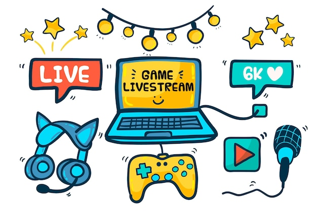 Hand getrokken game streamer conceptelementen