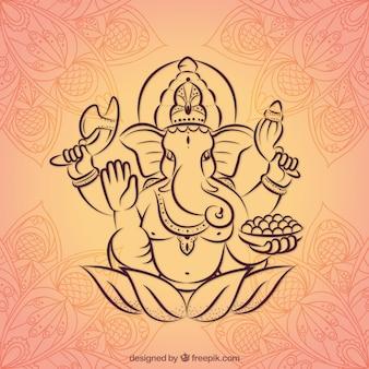 Hand getrokken Ganesha achtergrond