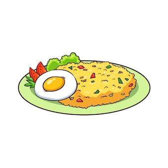 Hand getrokken gebakken rijst en ei