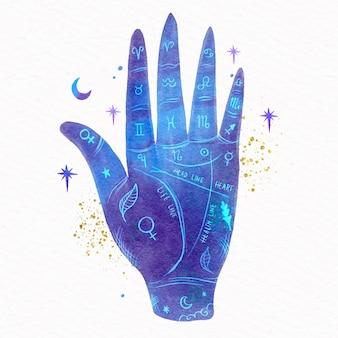 Hand getrokken geïllustreerd handlijnkunde concept