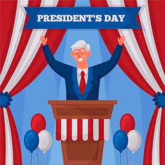 Hand getrokken geïllustreerde promo van de presidentendag