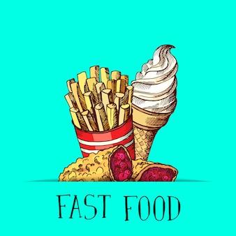 Hand getrokken gekleurde fast-food ijs, taart en gebakken aardappelen bij elkaar verzameld