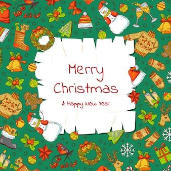 Hand getrokken gekleurde kerst elementen