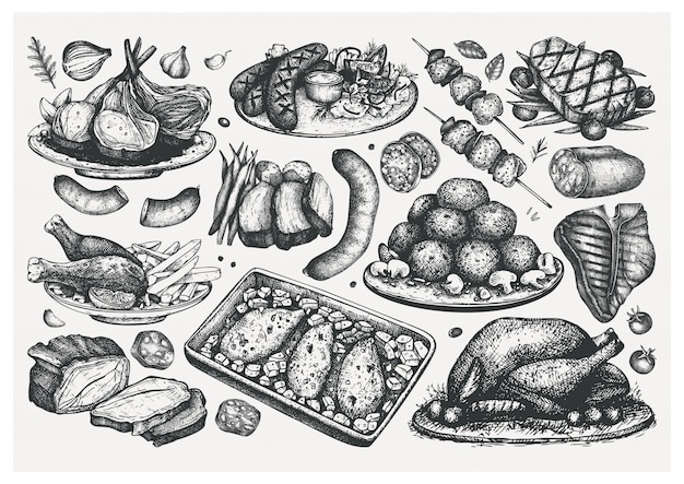 Hand getrokken gekookte vleesgerechten schetsen set. voedsel illustratie. gegraveerde vleesproducten, steaks, worstjes. vlees restaurant menu-elementen. voedselinzameling
