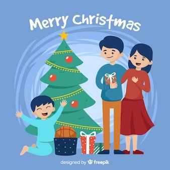 Hand getrokken gelukkige jongen kerstmis achtergrond