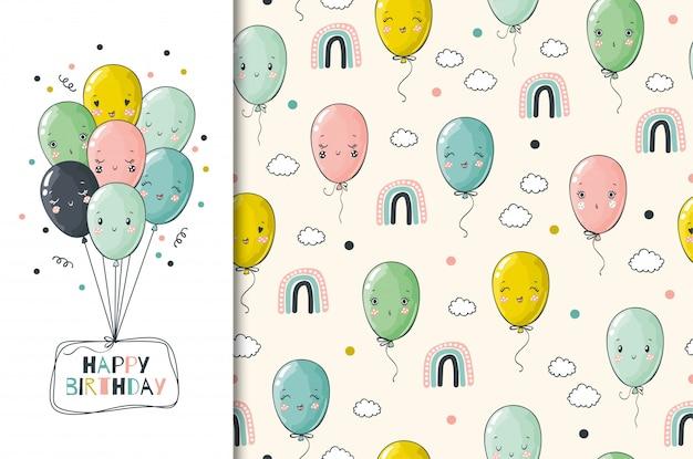 Hand getrokken gelukkige verjaardagskaart en naadloos patroon. grappige ballonnen