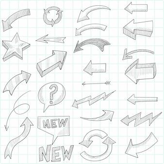 Hand getrokken geometrische doodle pijl set schets