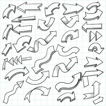 Hand getrokken geometrische doodle pijl set