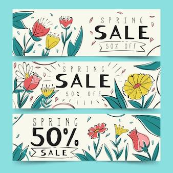 Hand getrokken geplaatste banners van de de lenteverkoop
