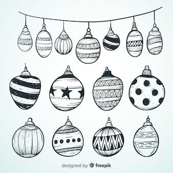 Hand getrokken geschetst kerstmis bal collectie