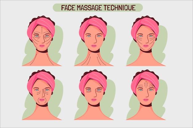Hand getrokken gezichtsmassage techniek