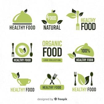 Hand getrokken gezond voedsel logo-collectie