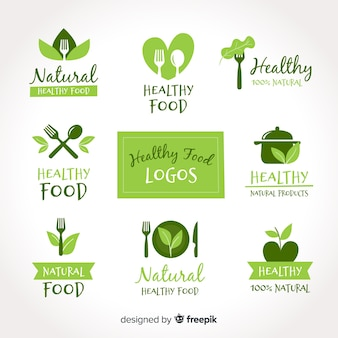 Hand getrokken gezond voedsel logo set