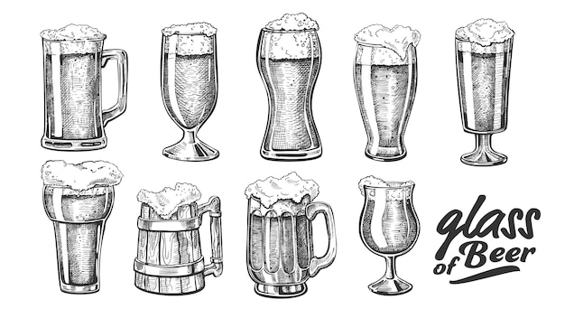 Hand getrokken glas met schuim bubble bier set