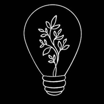 Hand getrokken gloeilamp met plant