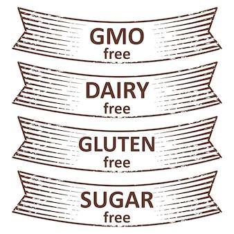 Hand getrokken glutenvrij, suikervrij, zuivelvrij, ggo-vrij lint labels tags ontwerp