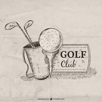 Hand getrokken golf club illustratie