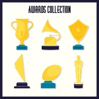 Hand getrokken gouden awards met een oscar prijzenpakket