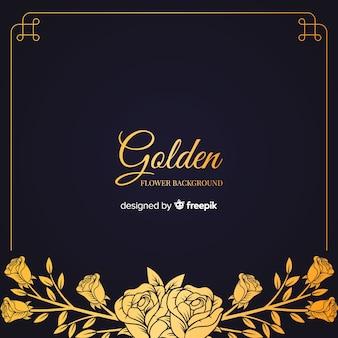 Hand getrokken gouden bloemenachtergrond