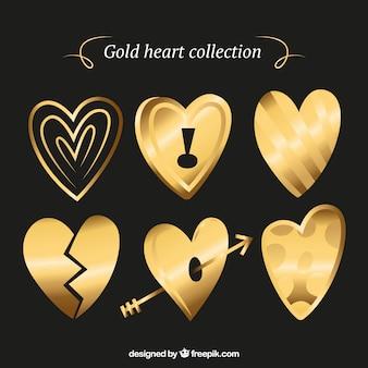Hand getrokken gouden hart collectie