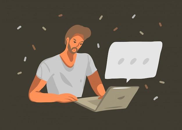 Hand getrokken grafische illustratie met jonge mannelijke werken of chatten op laptopcomputer geïsoleerd