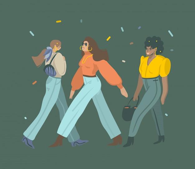 Hand getrokken grafische illustraties instellen met jonge vrouwelijke personages in street fashion stijl slijtage lopen op straat geïsoleerd