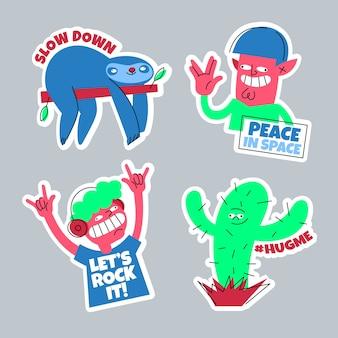 Hand getrokken grappige sticker set